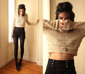 sweater,crop tops,jumper,knitted sweater,shorts,short sweater,brown sweater,short brown sweater