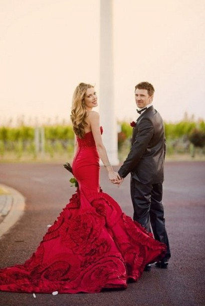 dress wedding dress red dress red formal mermaid pretty prom gown wedding ball quinceanera