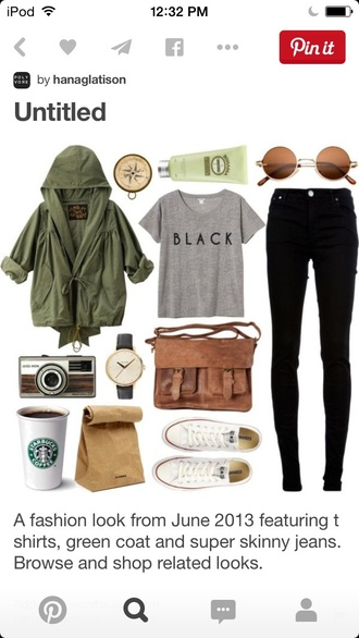 jacket black shirt brown bag brown satchel converse white converse converse all star casual starbucks coffee polaroid camera classic watch old fashioned authentic love spring fall army green jacket