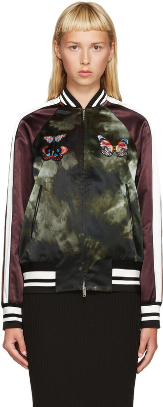 jacket bomber jacket embroidered tie dye multicolor