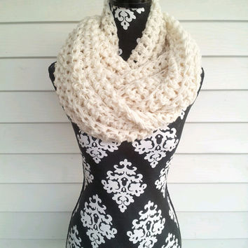 Winter White Chunky Infinity Scarf on Wanelo