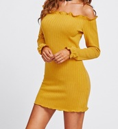 dress,girly,off the shoulder,off the shoulder dress,bodycon dress,bodycon,long sleeves,frilly,mustard,yellow