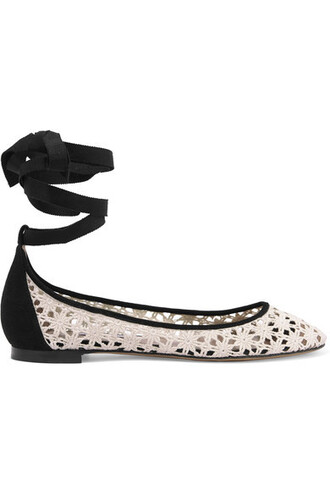 ballet daisy flats ballet flats lace white suede off-white shoes