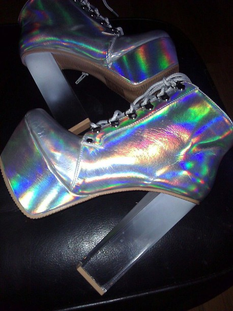 shoes kawaii dope holographic jellies platform lace up boots holographic silver holographic boots