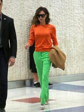 sweater,orange,victoria beckham,pants,green,pumps,sunglasses