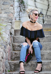 love maegan,blogger,jewels,bag,sunglasses,off the shoulder,black top,ruffled top,choker necklace,ripped jeans,skinny jeans,wedges,bardot top