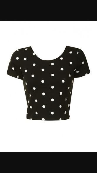 shirt polka dots black white