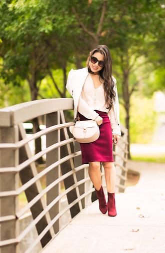 cute & little blogger jacket top sweater skirt shoes bag ankle boots shoulder bag pencil skirt