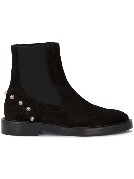Balenciaga women booties leather suede black shoes