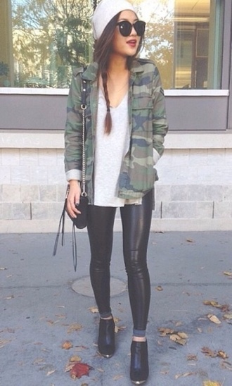 jacket camouflage camo jacket vintage camouflage jacket sweater shirt t-shirt tank top black and white black white high heels shoes blouse pants sunglasses hat army green jacket