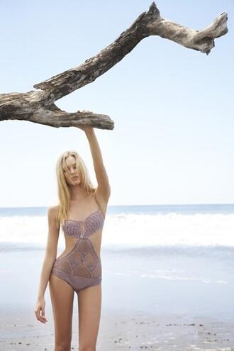 swimwear cut out one piece one piece one piece swimsuit monokini knit lavendar