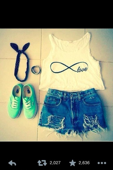 cute beautiful t-shirt vans infinity top shirt shorts pretty hipster headband hair accessorie hot shoes