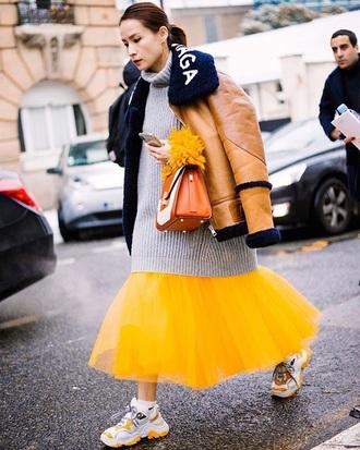 shoes sneakers balenciaga skirt yellow skirt midi skirt sweater grey sweater oversized jacket oversized sweater shearling jacket streetstyle