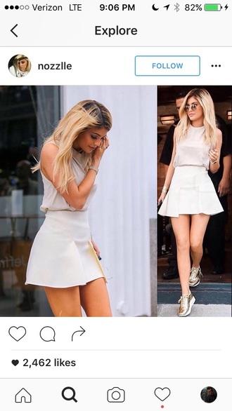 skirt kylie jenner white skirt mini skirt