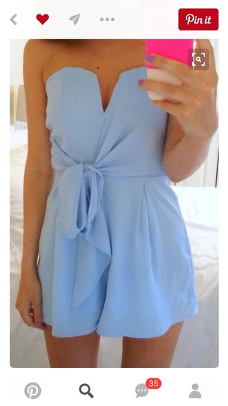 romper blue strapless bow baby blue blue dress blue romper light blue jumpsuit summer