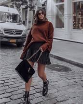 sweater,knitted sweater,turtleneck sweater,mini skirt,wrap ruffle skirt,black skirt,boots,cut out ankle boots,shoulder bag,sunglasses