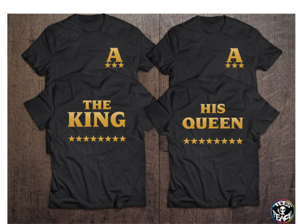 2d2162201 shirt the king his queen stars couples shirts matching couples t-shirt  black gold gold