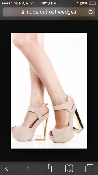 shoes nude beige cream neural wedges cut-out clear glass platform shoes high heel heels ankle strap peep toe booties prom formal strappy crystal