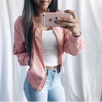 jacket windbreaker pink zip pink bomber jacket sweater bomber jacket coat tank top jeans vue boutique