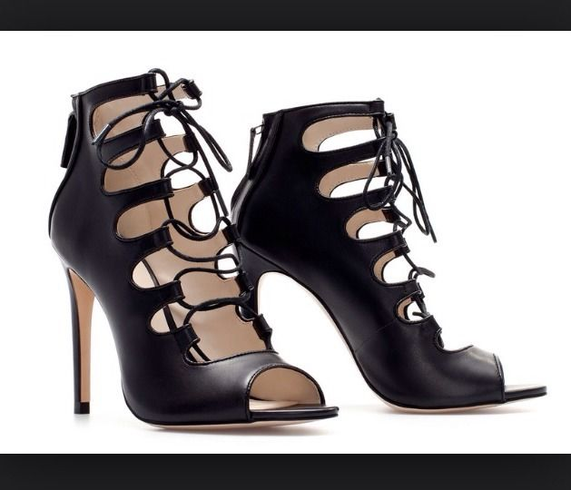 zara high heel leather ankle lace up boot sz 36 ebay
