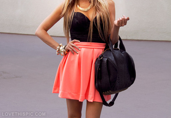 skirt shirt black short skirt blouse bag pretty dress little black dress neon peach sexy neon pink pink pretty dress orange dress bustier hand bag handbags