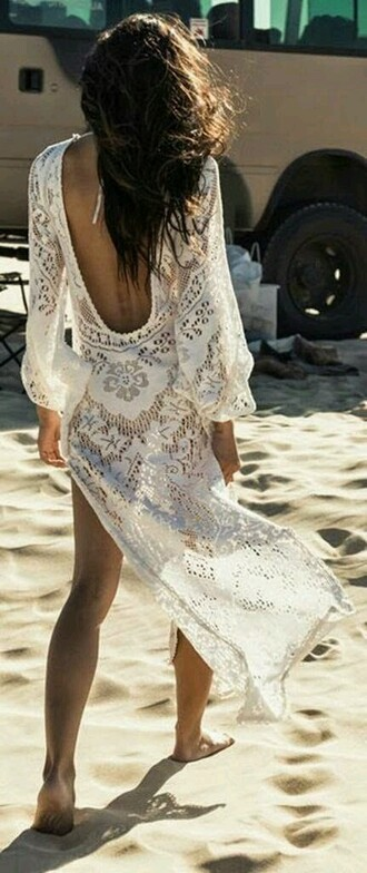 dress crochet white dress ace transparent summer summer dress maxi dress backless open back open back dresses backless dress