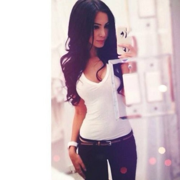 Shirt: white, sexy, belt, jeans, sweater - Wheretoget