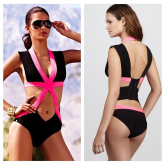 swimwear one piece swimsuit pink black sexy bandage bodysuit fashion swimwear colorful cut-out swimsuit tan wrap