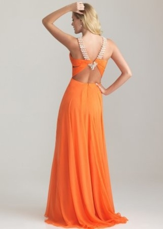 dress prom dress orange dress backless dress