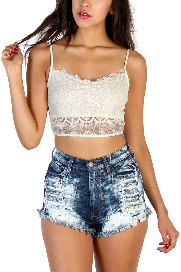 Sweet Floral Lace Top - Ivory