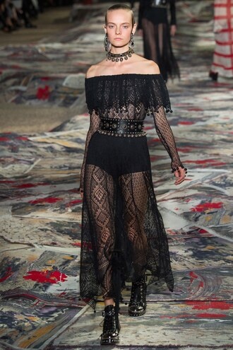 dress black dress midi dress see through dress off the shoulder choker necklace alexander mcqueen paris fashion week 2016 lace dress lace belt