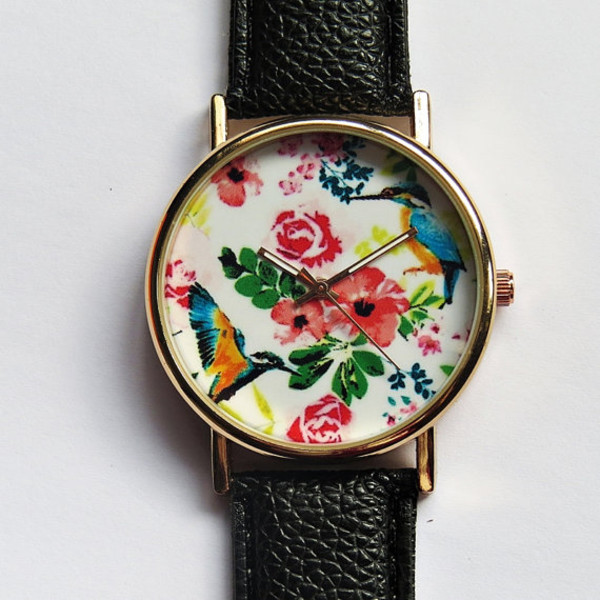 jewels tropical birds hummingbird hibiscus watch watch handmade etsy style