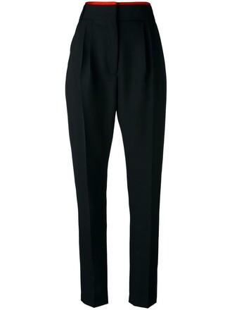 high women black wool pants