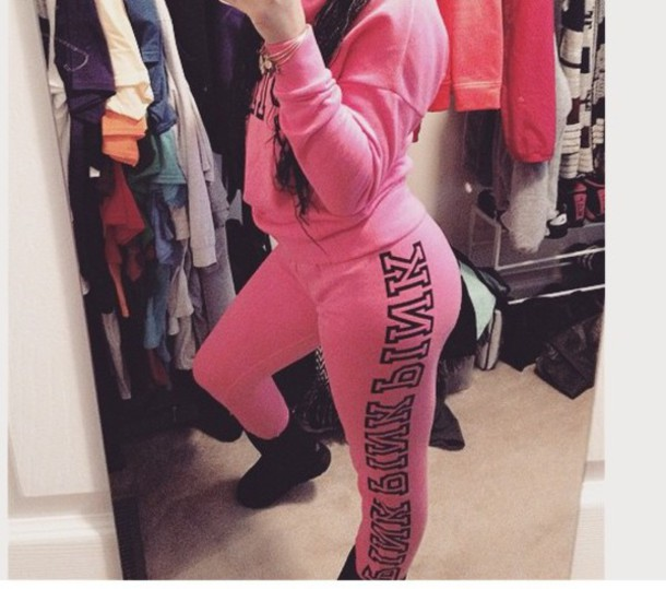 Pants: pink by victorias secret, pink, sweatpants, hoodie - Wheretoget