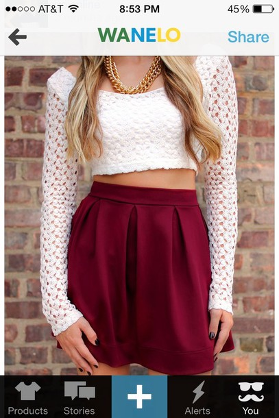 Maroon High Waisted Skirt Photo Album - The Fashions Of Paradise