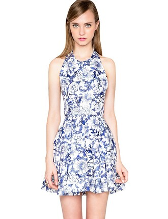 blue summer outfits floral cute dress blue dress white pixie market pixiemarket summer dress backless white dress trend trendy halter neck new mosaic