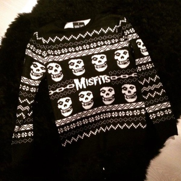 sweater misfits black black and white white