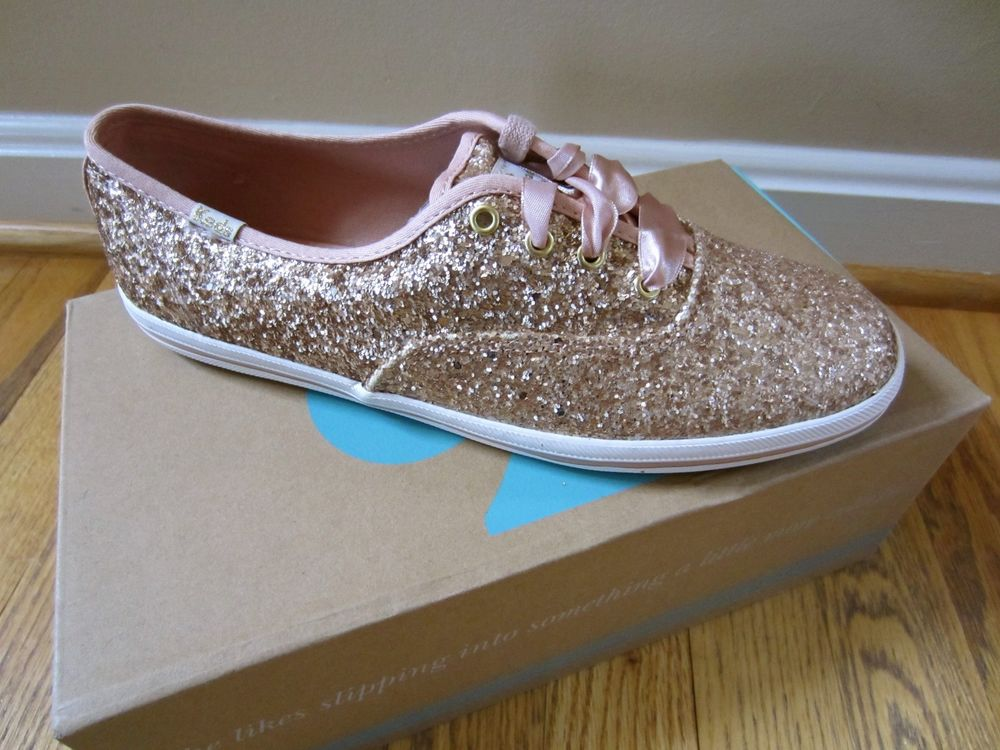 b72c47949b1 Kate Spade Keds Sneakers Kick Rose Gold Glitter Shoes Pink Ribbon ...