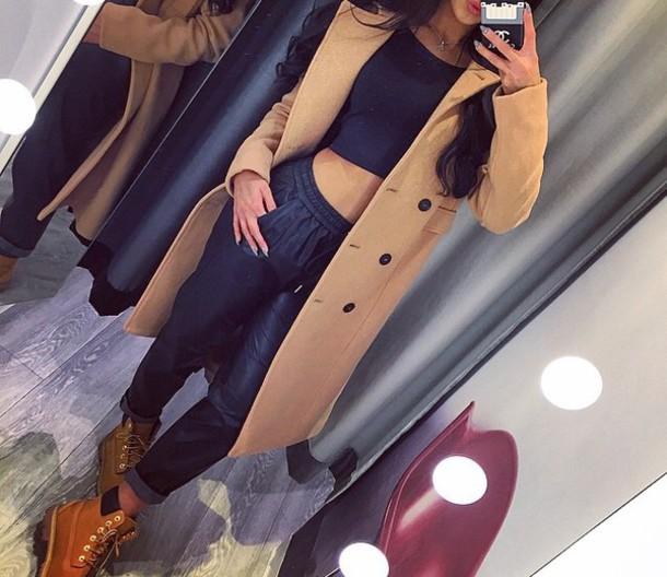 coat camel coat pants shoes top brown coat black sweatpants