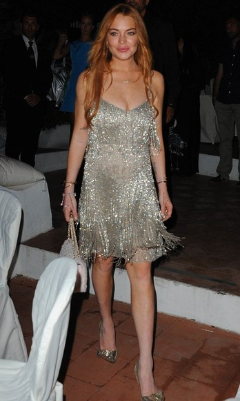 dress lindsay lohan glitter dress glitter clubwear