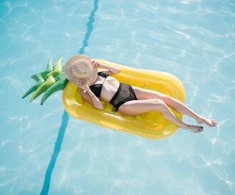 swimwear hat tumblr swimwear two piece bikini bikini top bikini bottoms black swimwear black bikini pool accessory home accessory