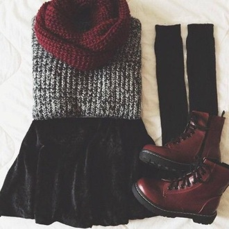 coat grunge knit knitted sweater doc. martens boots