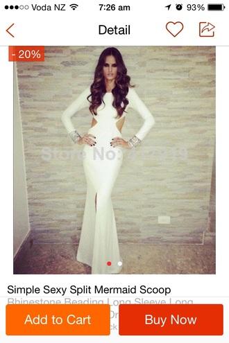 dress white dress simple dress sexy dress prom dress mermaid prom dress cut offs cute dress long sleeves maxi dress