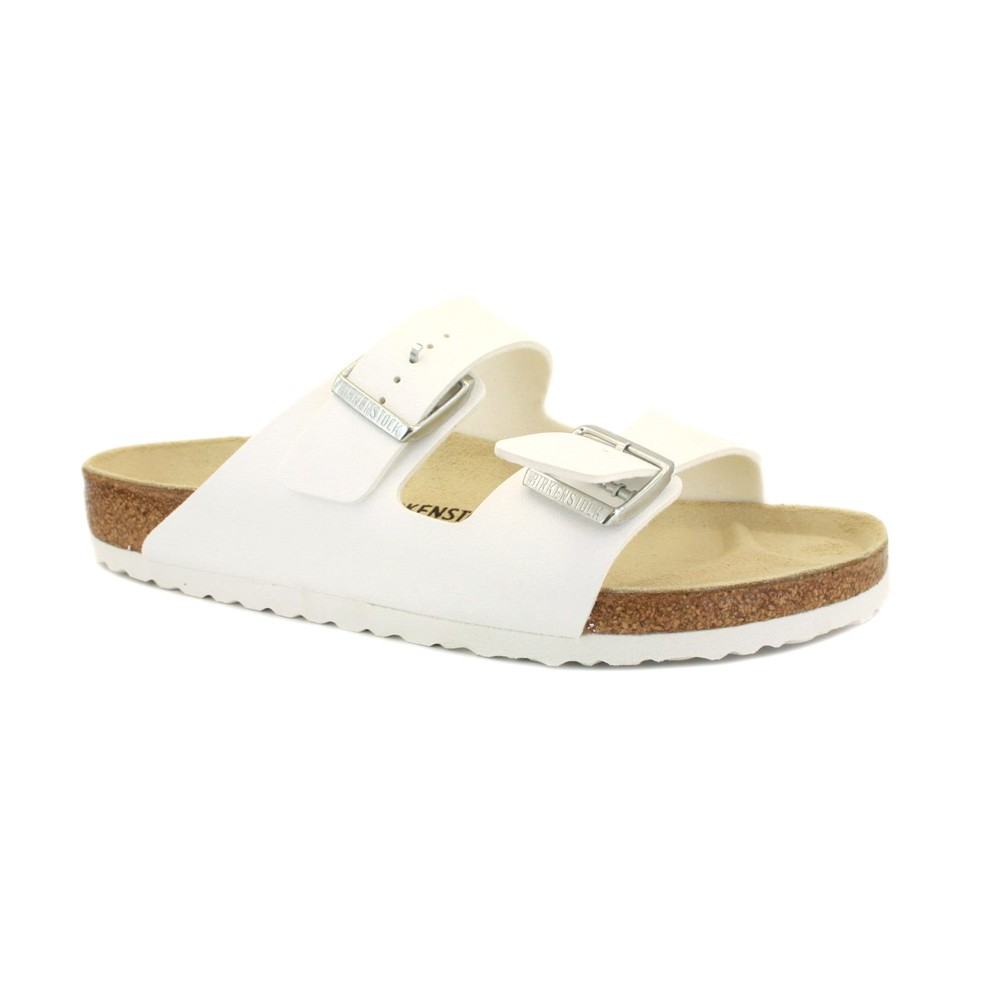 Birkenstock Arizona Mens Slip On Leather Sandals White