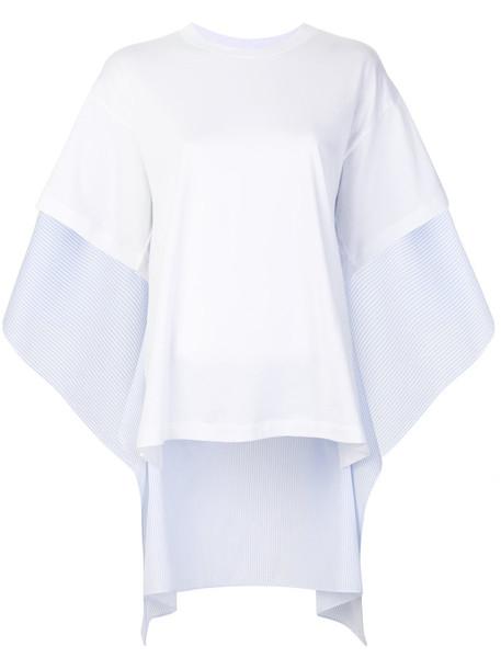 Mm6 Maison Margiela t-shirt shirt t-shirt women draped white cotton top