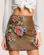 skirt,embroidered,girly,brown,leather,leather skirt,floral,flowers