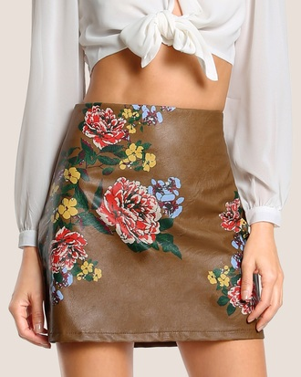 skirt embroidered girly brown leather leather skirt floral flowers