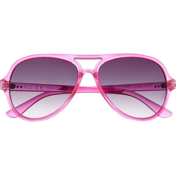 River Island Bright pink aviator sunglasses - Polyvore