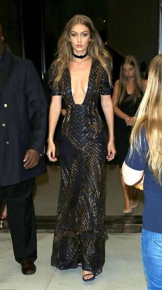 dress plunge v neck plunge dress gigi hadid gown prom dress choker necklace ny fashion week 2016 sexy dress model sparkly dress