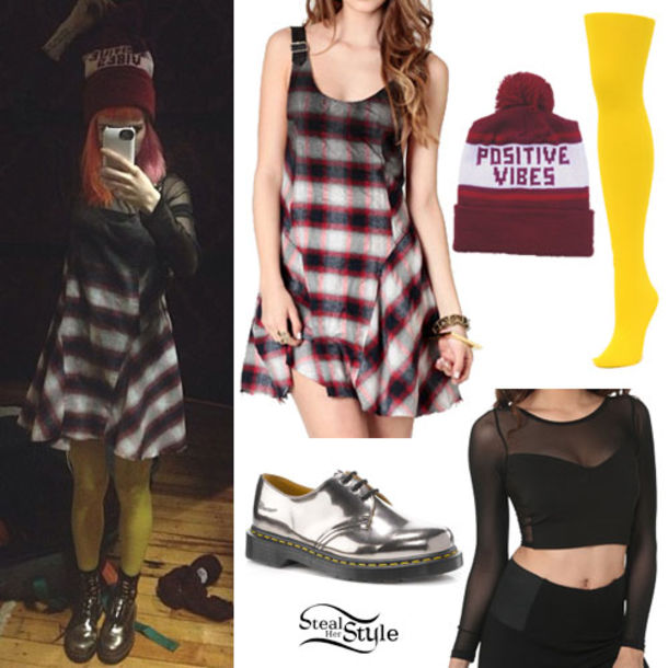 6236720f88a dress paramore hayley williams beanie positive vibes shoes hat top shirt  black top